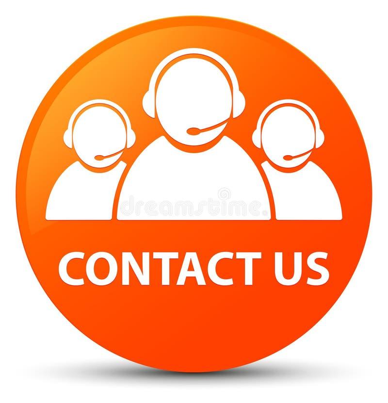 与我们联系(顾客关心队象)橙色圆的按钮 库存例证