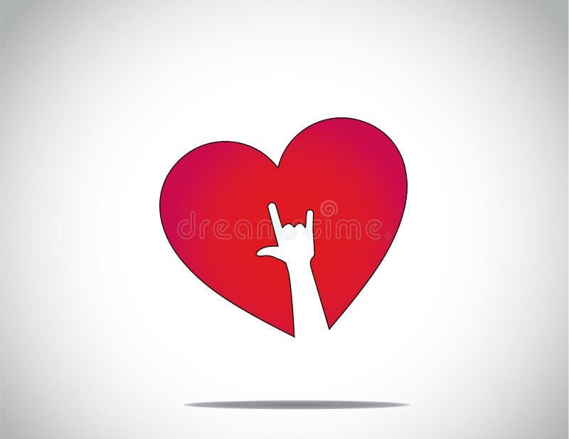 与我爱你手标志艺术的红色爱或心脏形状象 向量例证