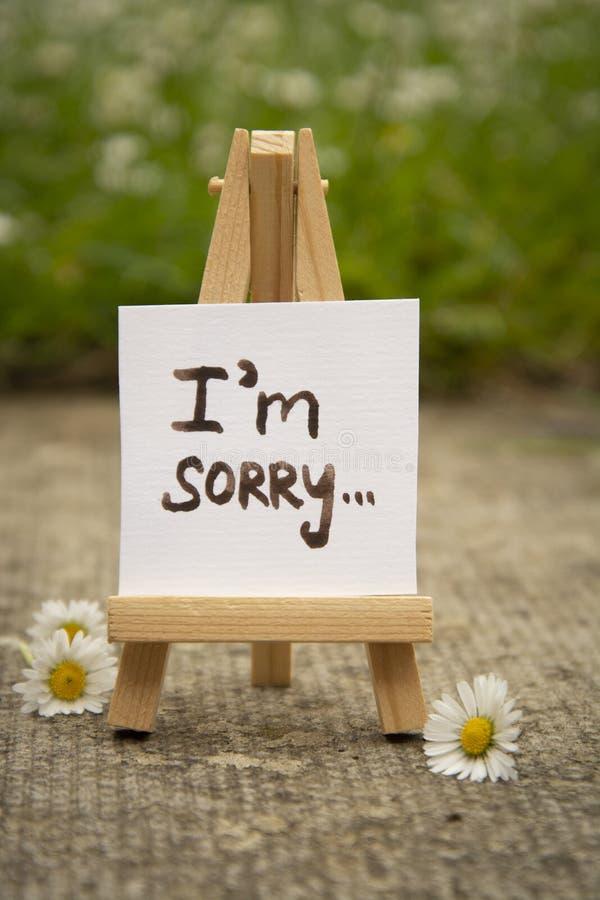 ?? 与我的贴纸是抱歉的题字 微型chalckboard 库存照片