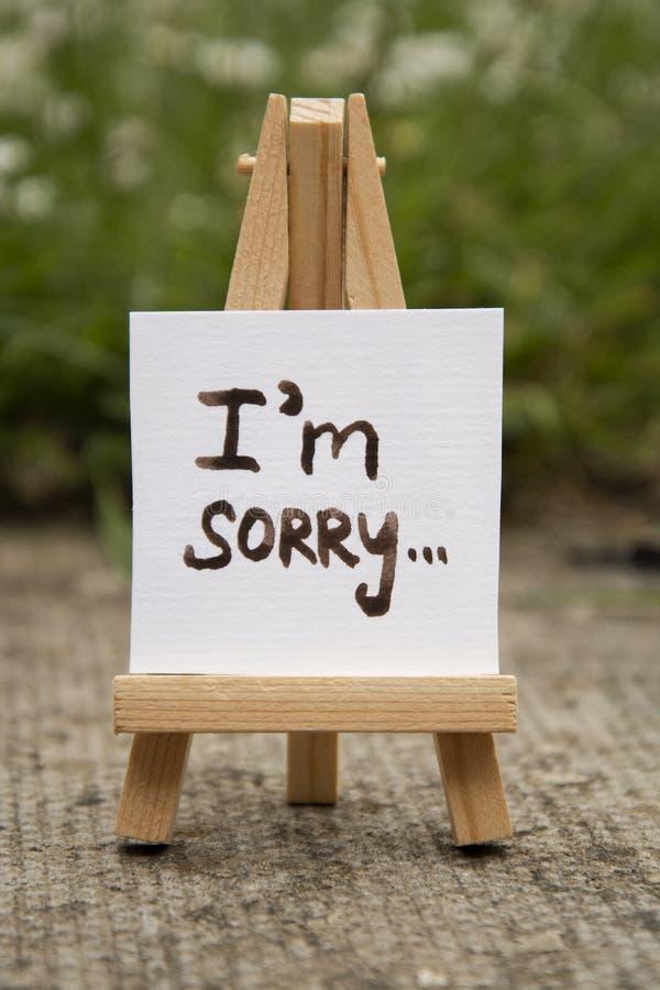 ?? 与我的贴纸是抱歉的题字 微型chalckboard 免版税库存图片