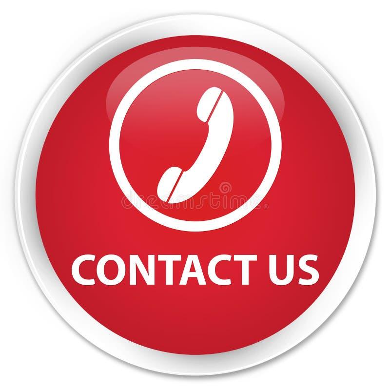 与我们联系(电话象)优质红色圆的按钮 向量例证