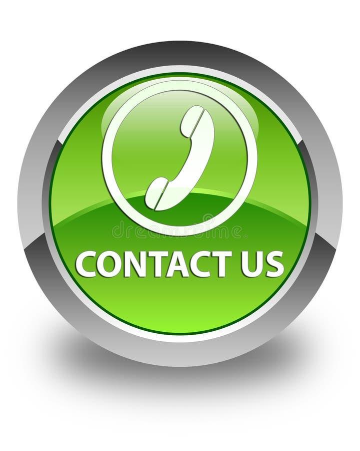 与我们联系(电话象)光滑的绿色圆的按钮 向量例证