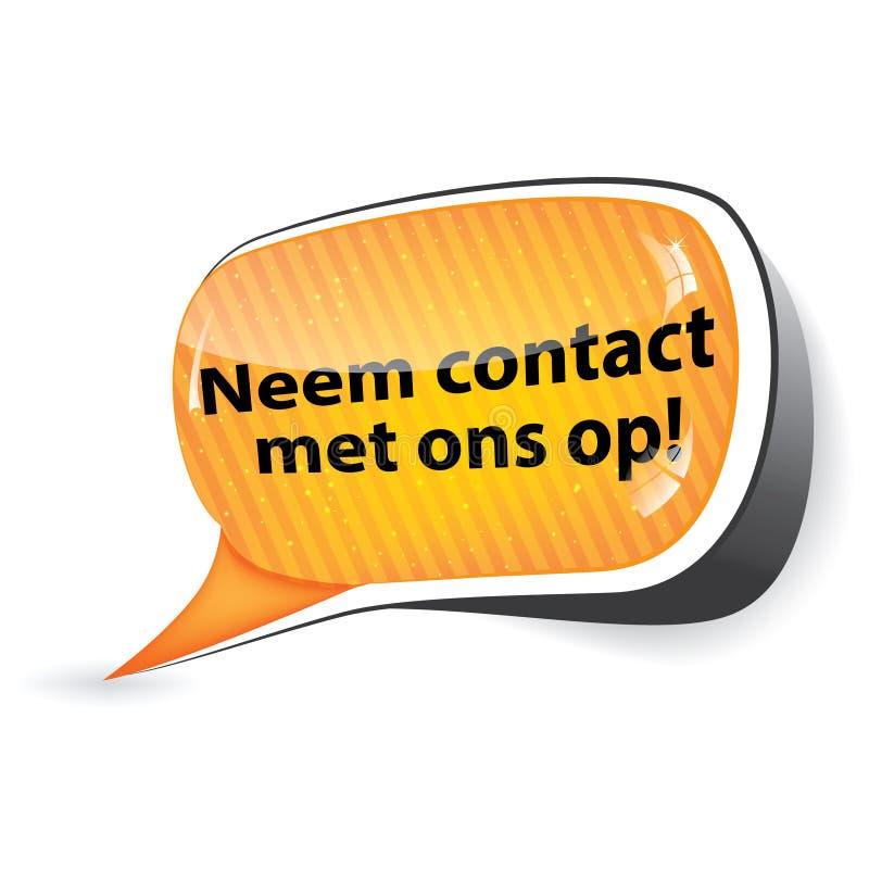 与我们联系!-荷兰语语言 库存例证