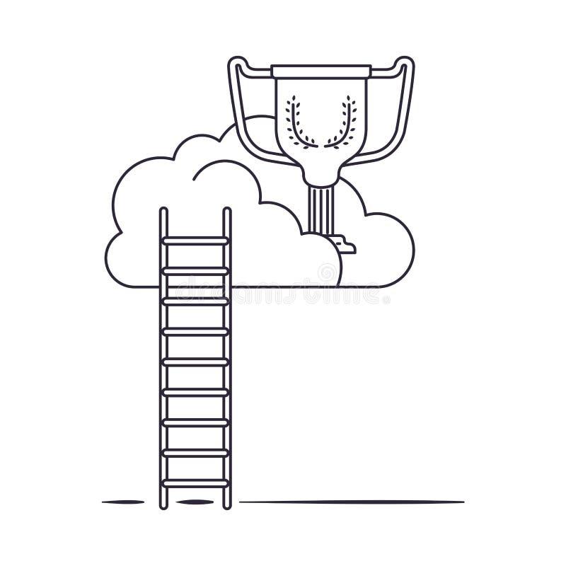 与战利品和台阶被隔绝的象的云彩 向量例证