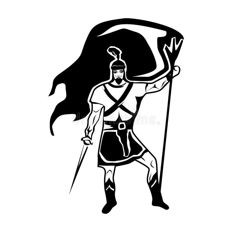 与战士男性战士的画象的黑白例证 皇族释放例证