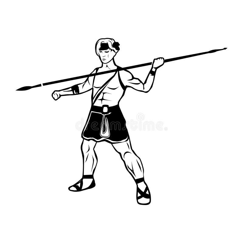 与战士男性战士的画象的黑白例证 库存例证