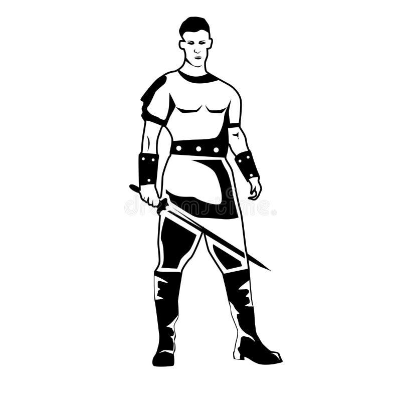 与战士男性战士的画象的黑白例证 向量例证