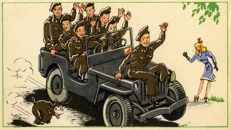 与战士的老明信片 免版税库存图片