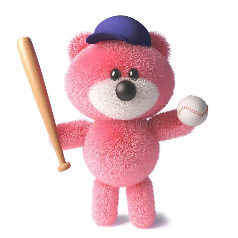 与戴棒球帽和拿着棒球棒和球,3d的软的桃红色毛皮的玩具熊例证 库存例证