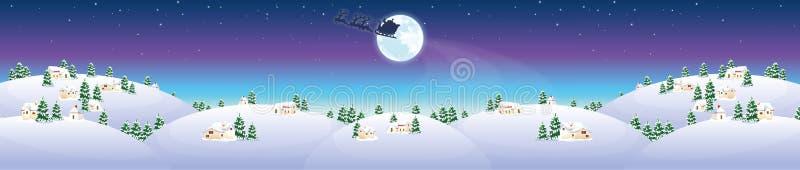 与房子和圣诞老人的冬天风景 向量例证