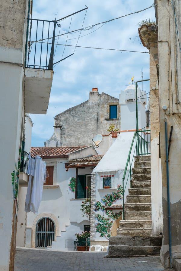 与房子和多云天空的老城市街道视图 图库摄影