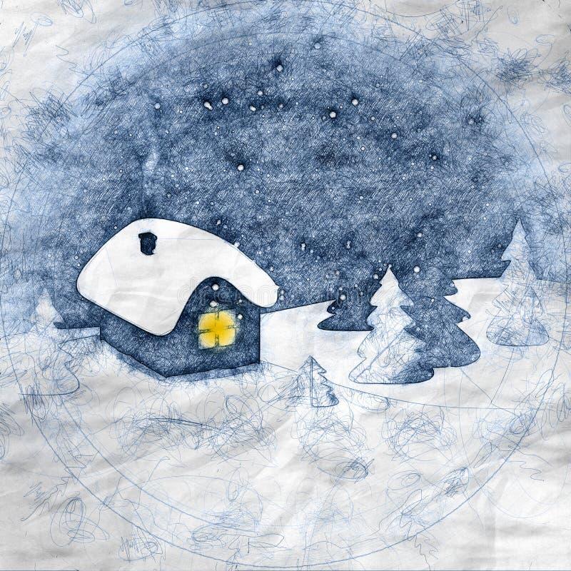 与房子和树的抽象冬天手凹道样式风景 库存例证