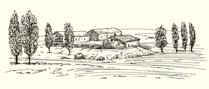 与房子和草甸的手拉的农村风景 向量例证