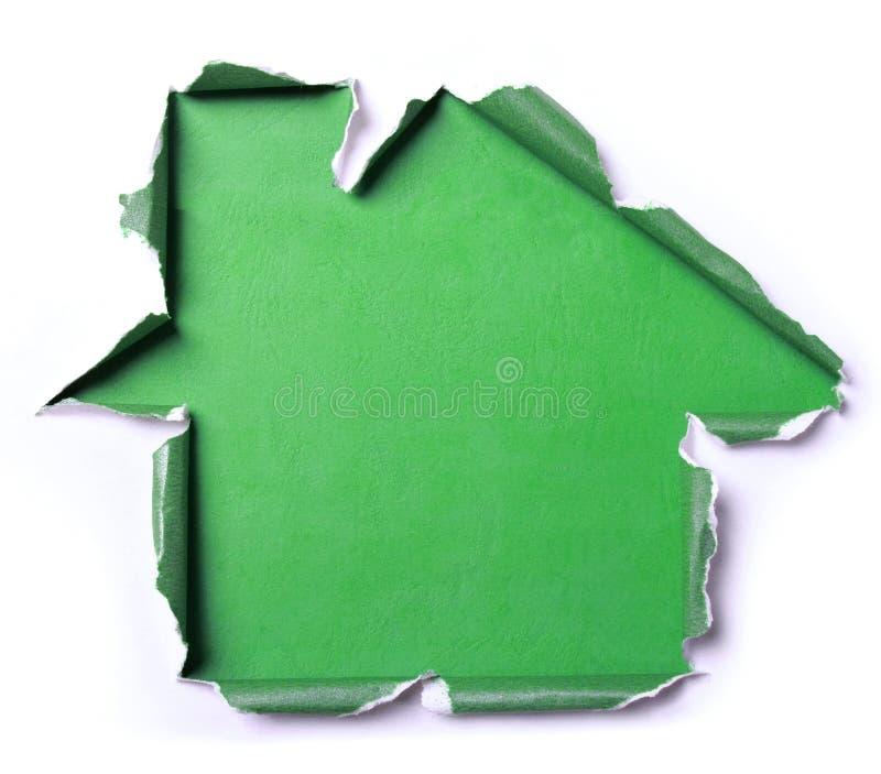 与房子形状的白色被撕毁的纸 免版税库存照片