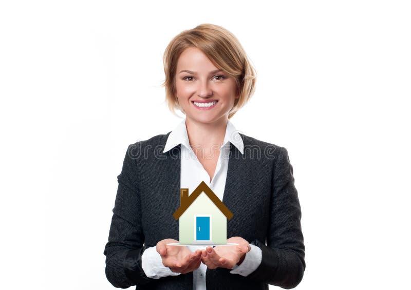 与房子模型的房地产开发商 免版税图库摄影