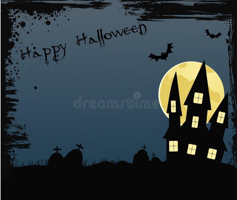 与房子的万圣夜背景在坟园附近 库存例证