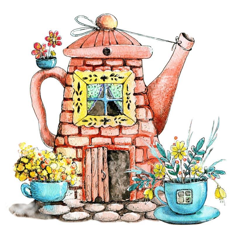 与房子的图象的画的水彩水壶和杯子的 茶的,咖啡馆,餐馆,印刷品,背景设计观念 库存例证