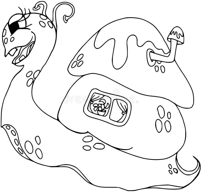 与房子的滑稽的蜗牛他的  漫画人物,动画片动物 在白色的着色 皇族释放例证