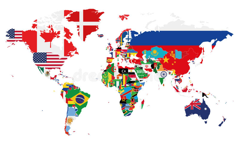 与所有国家旗子的政治世界地图传染媒介例证  向量例证
