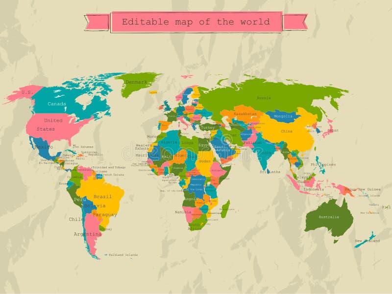 与所有国家的编辑可能的世界地图。 皇族释放例证