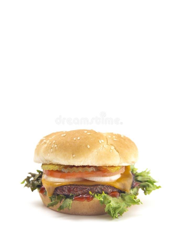 与所有定象的完善的牛肉汉堡包在白色Backgroun 图库摄影