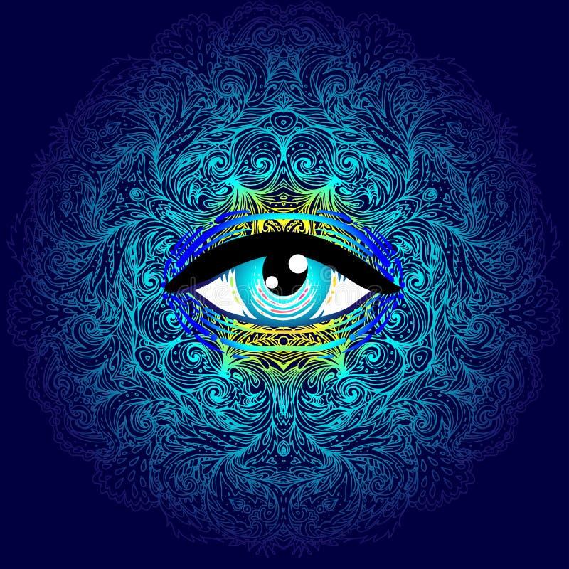 与所有看见的眼睛的神圣的几何标志在酸颜色 Mysti 向量例证