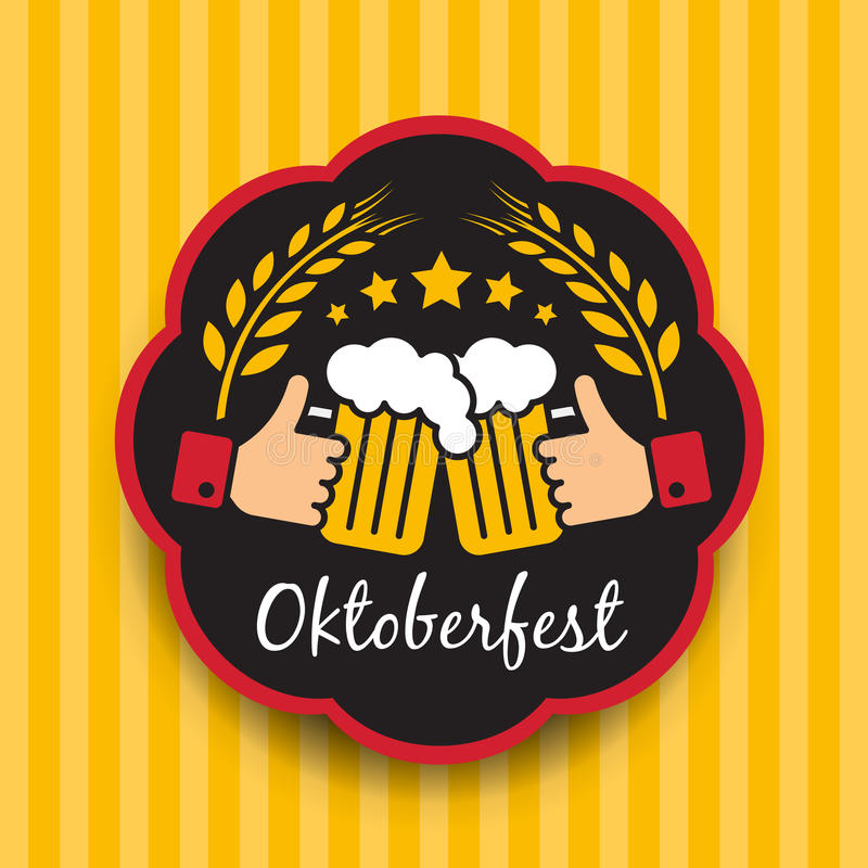 与手举行叮当声玻璃的慕尼黑啤酒节签字和在圈子框架的Balley米在黄色垂直的背景传染媒介设计 皇族释放例证