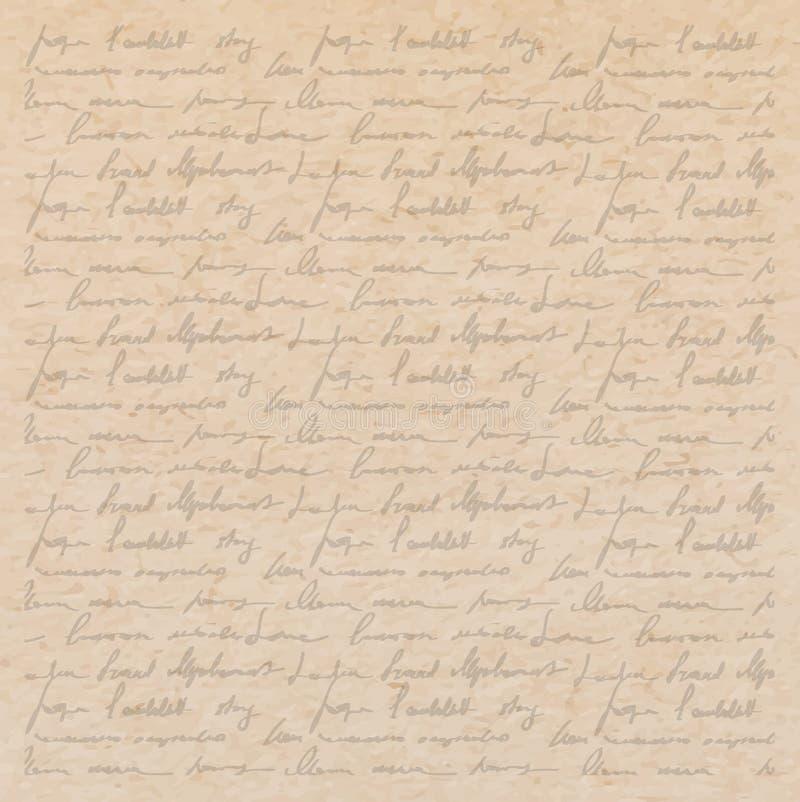 与手写信件的老纸纹理 向量例证