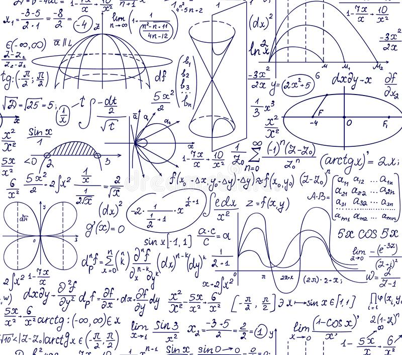 与手写的图、演算和等式的算术教育科学传染媒介无缝的样式 皇族释放例证