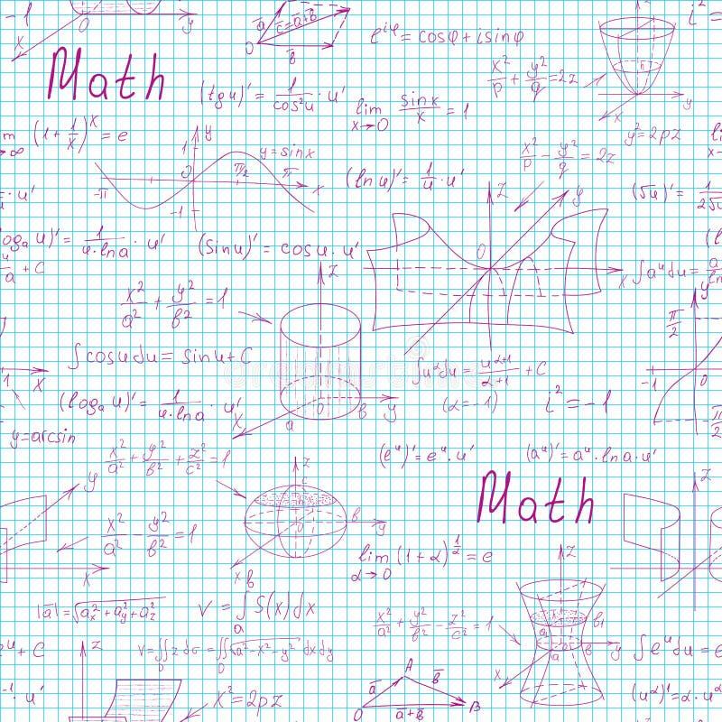 与手写的惯例的算术科学传染媒介无缝的样式在背景的笔记本页 皇族释放例证