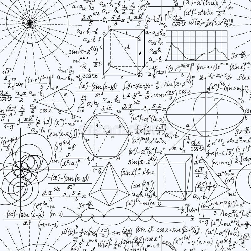 与手写的惯例,图,演算的算术教育传染媒介无缝的背景 皇族释放例证