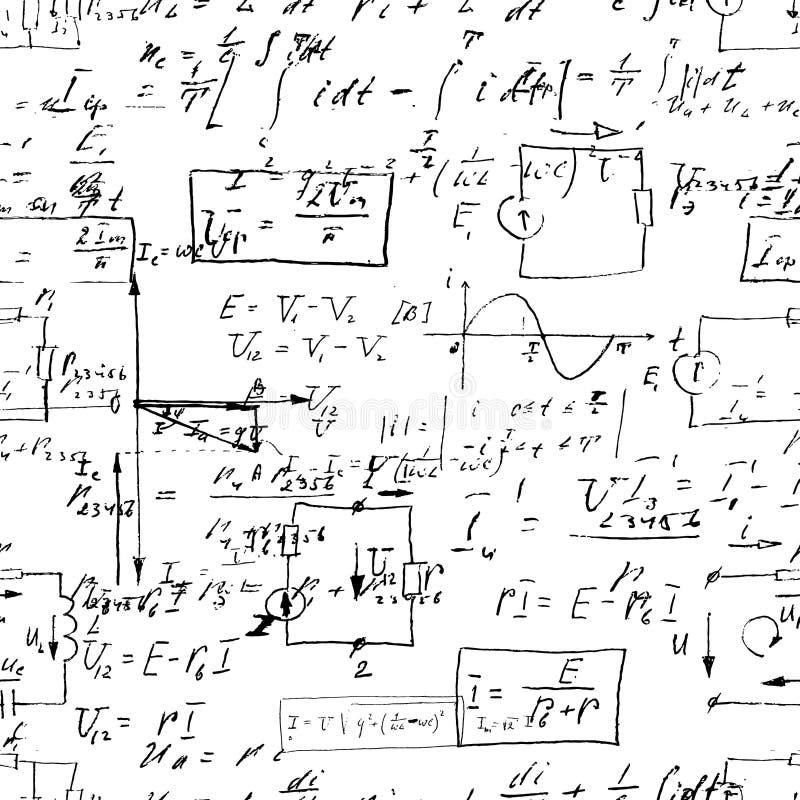与手写的数学公式的无缝的不尽的样式背景 向量例证