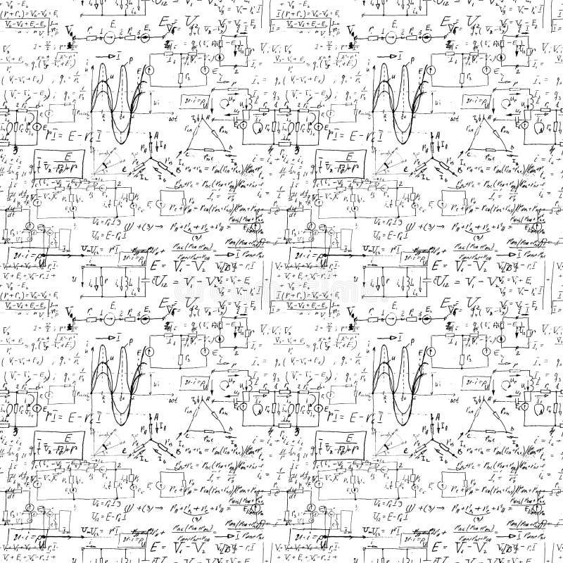与手写的数学公式的无缝的不尽的样式背景 皇族释放例证