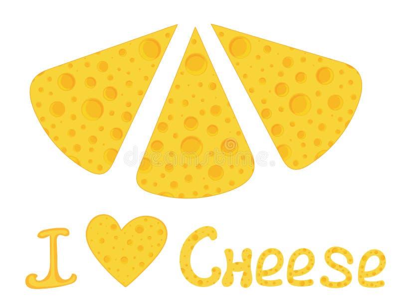 与手写的文本的传染媒介五颜六色的食物背景'我爱乳酪' 皇族释放例证