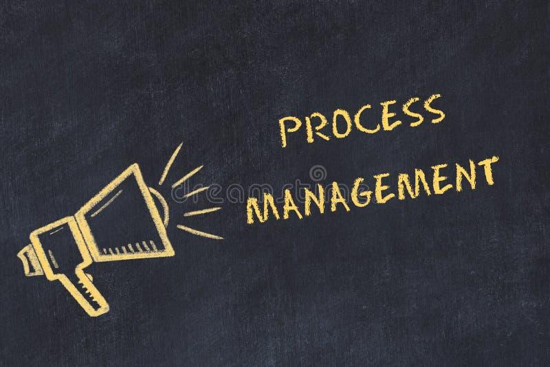与手写的文本进程管理的粉笔板剪影 库存例证