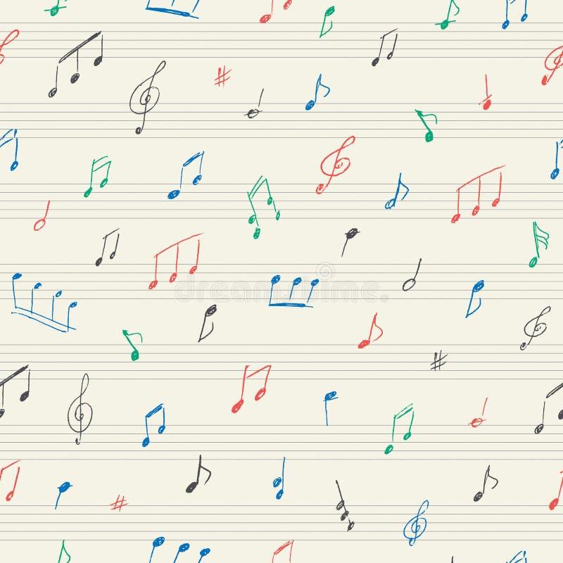 与手写的音符的音乐无缝的样式 库存例证