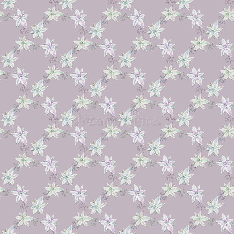与手凹道百合的嫩无缝的样式开花 向量例证