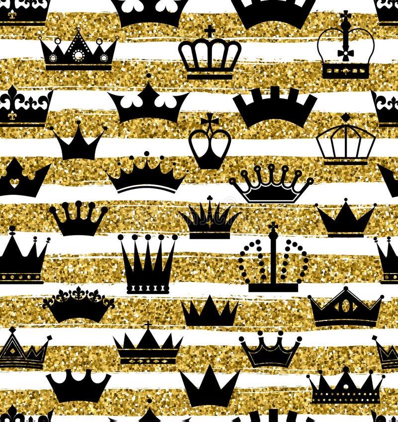 与手凹道空白线路和冠无缝的样式的金黄闪烁纹理在金子样式 金属的庆祝 库存例证
