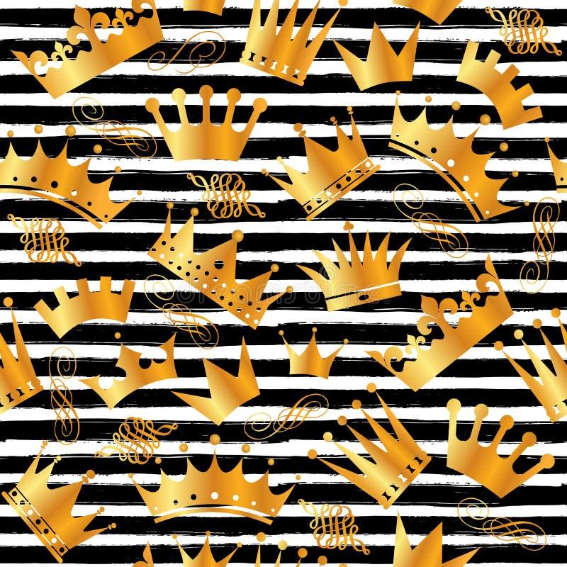 与手凹道黑色的金黄闪烁纹理排行在金子样式的无缝的样式 庆祝金属背景 皇族释放例证