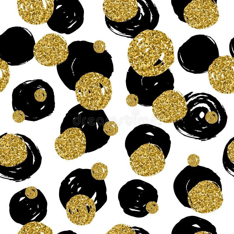 与手凹道黑色,金黄,圈子的金黄闪烁纹理 向量例证