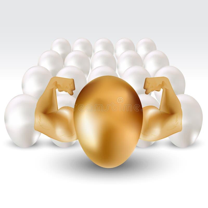 与手力量的金黄鸡蛋,从人群概念引人注意 库存例证