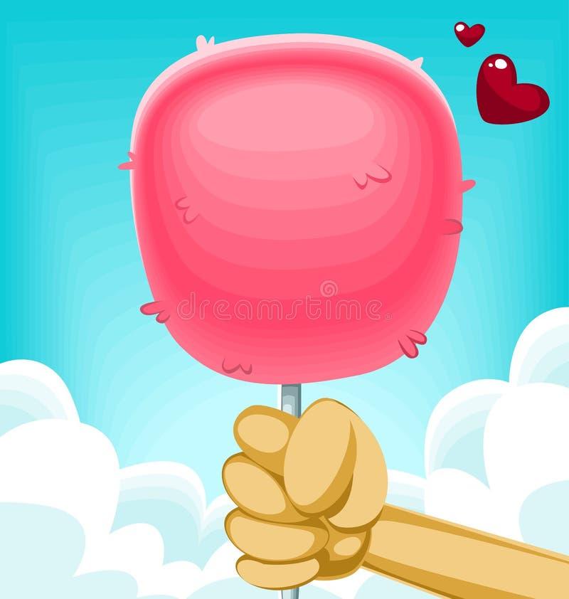 与手劫掠藏品的传染媒介动画片蓬松滑稽的可爱的桃红色棉花糖 向量例证