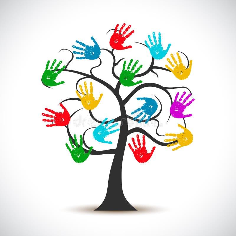 与手商标的树,帮助的树-传染媒介 向量例证