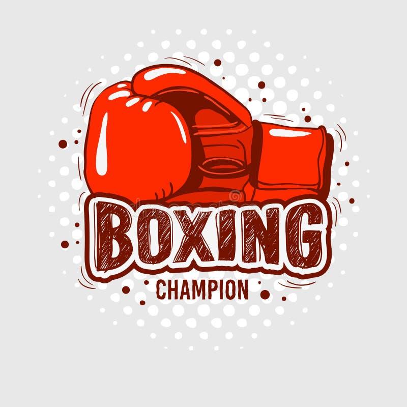 与手套的印刷拳击发球区域印刷品设计T恤杉打印向量图形的 库存例证