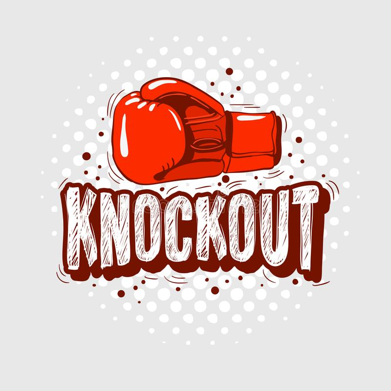与手套的印刷拳击发球区域印刷品设计T恤杉打印向量图形的 皇族释放例证