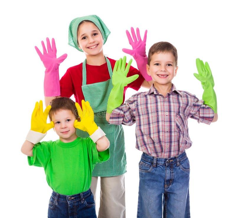 与手套的愉快的孩子 免版税图库摄影
