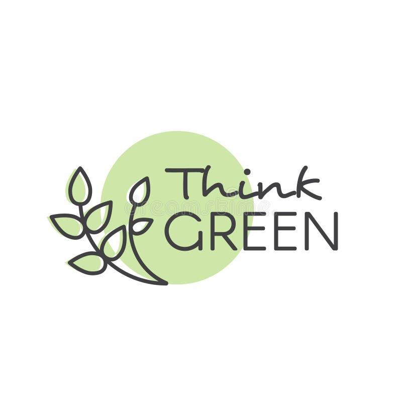 与手字法文本商标的例证认为绿色概念 皇族释放例证