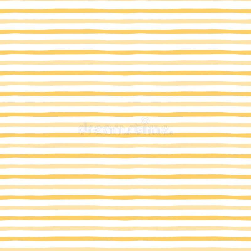 与手工制造条纹的黄色样式 抽象背景向量 夏天明亮的无缝的样式 库存例证