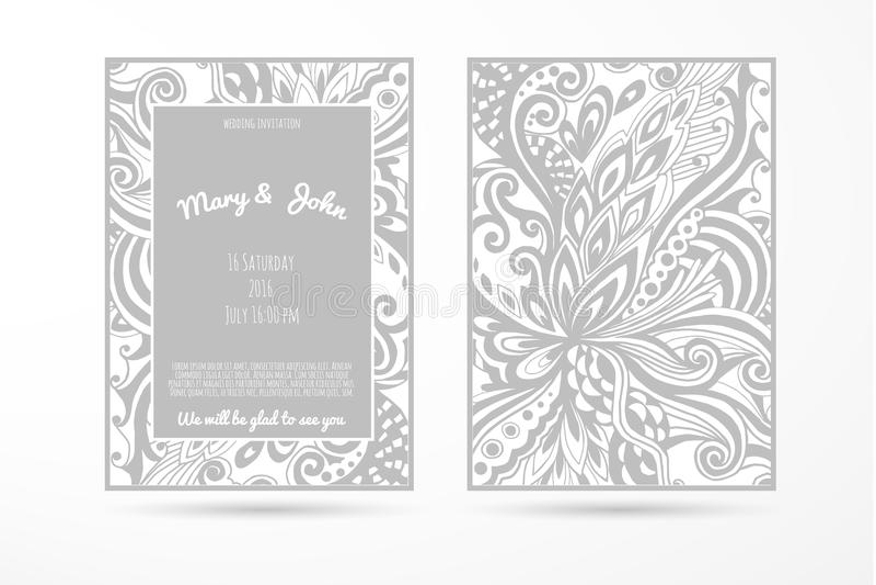 与手工制造花卉元素的婚礼背景 现代婚礼收藏 也corel凹道例证向量 皇族释放例证