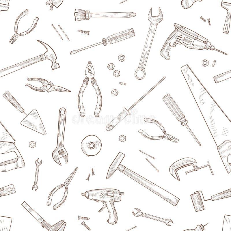 与手工和电动工具的单色无缝的样式为木材加工手拉与在白色的等高线 皇族释放例证